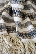 Galaxy Reborn Mexican Blanket Handwoven MEDIUMWEIGHT 80 X 50 in Herringbone Brown Black Neutral Bohemian Throw Handmade Serape Nursery Blanket