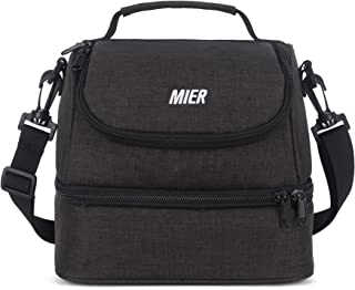MIER Double Decker Insulated Lunch Box Pink Soft Cooler Bag Thermal Lunch Tote with Shoulder Strap Dark Gray