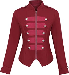 Kate Kasin Womens Victorian Steampunk Ringmaster Jacket Military Blazer