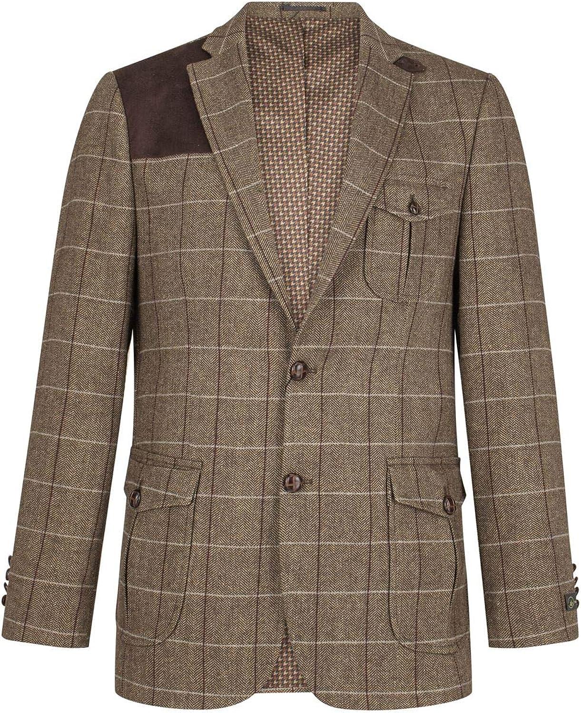 1970s Men's Suits History | Sport Coats & Tuxedos Mens Wool Tweed Shooting Jacket Check Hunting Herringbone Blazer Oak Elbow Patch  AT vintagedancer.com