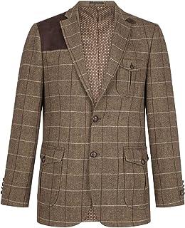 Mens Wool Tweed Shooting Jacket Check Hunting Herringbone Blazer Oak Elbow Patch