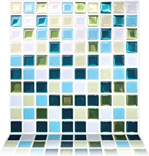 Tic Tac Tiles 10-Sheet Peel and Stick Self Adhesive Removable Stick On Kitchen Backsplash Bathroom 3D Wall Sticker Wallpaper Tiles in Glassy Peacock