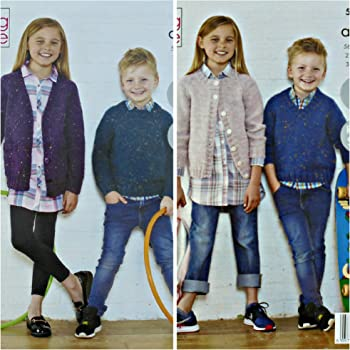 King Cole 5542 Knitting Pattern Childrens Easy Knit Jumpers and Cardigans in Fashion Aran