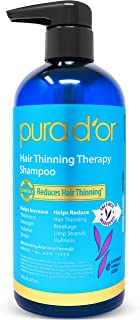 PURA D'OR Hair Thinning Therapy Shampoo for Prevention, VANILLA LAVENDER Scent with Argan Oil, Biotin & Natural Ingredients, Sulfate Free, All Hair Types, Men and Women, 16 Fl Oz (Packaging may vary)