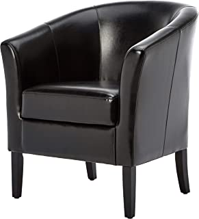 First Hill Colfax Retro-Modern Club Chair with Vinyl Upholstery, Seal Black