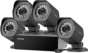 Zmodo 4 Pack 720P HD Weatherproof sPoE Security Camera w/8CH sPoE Repeater for Power & Data Transmission, Remote Monitoring- [Free 6-Month Cloud Service for Recording]