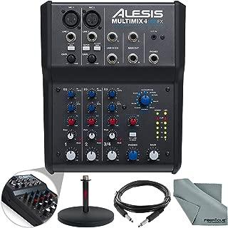 Alesis MultiMix 4 USB FX 4-Channel Mixer & USB Audio Interface Basic Bundle w/Cable + Mic Stand + Fibertique Cloth