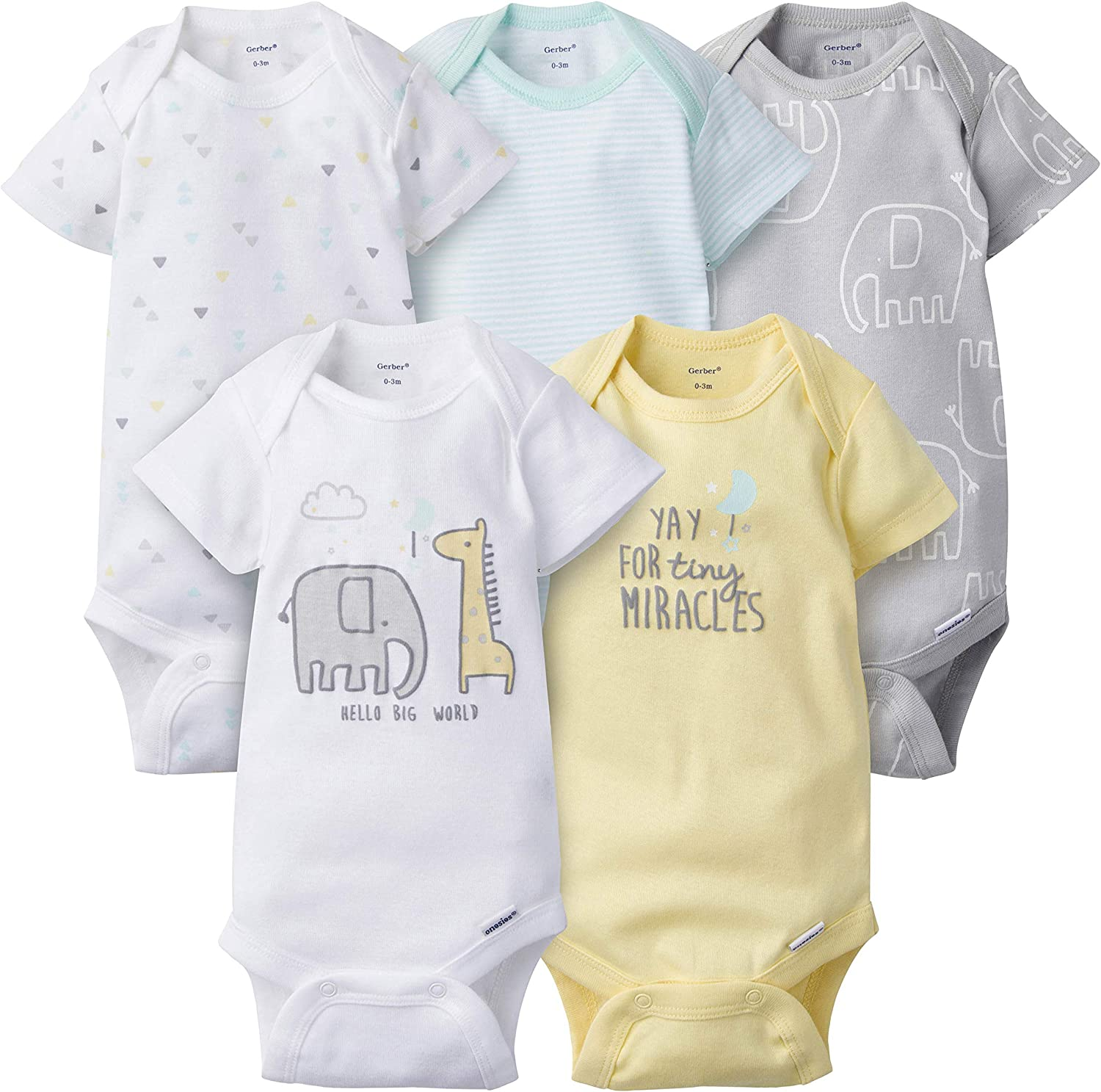 Gerber unisex-baby Ranking integrated 1st place 5-pack Variety Bodysuits Onesies OFFicial