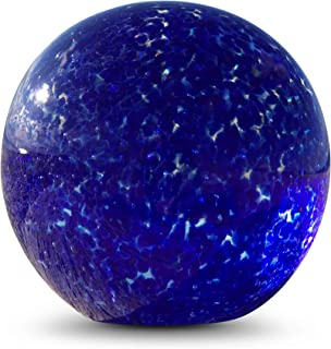 WHW Whole House Worlds Bubble Fusion Ball Paperweight, Vivid Blue and Clear, Hand Crafted Art Glass, 3 1/4 Inches Diameter Ball, No Roll Flat Bottom (8 D cm)