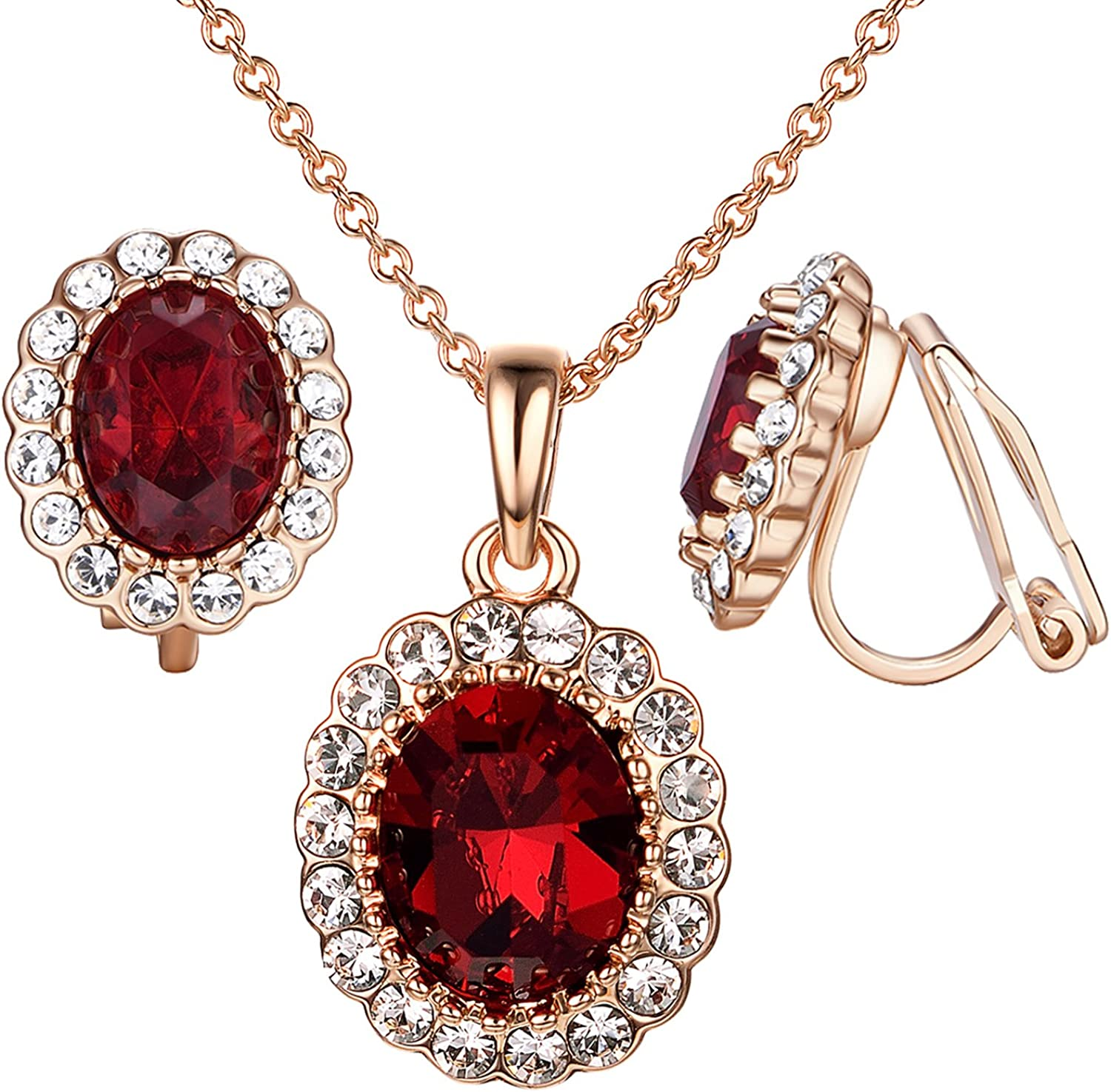 Yoursfs Necklaces and Clip On Earrings for Women 18K Gold Plated