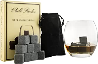 Set of 9 Grey Beverage Chilling Stones [Chill Rocks] Whiskey Stones for Whiskey and other Beverages - in Gift Box with Vel...
