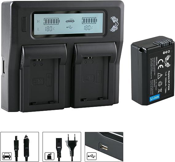 Sk Akku Sony Np Fw50 1050mah Lcd Dual Doppel Kamera