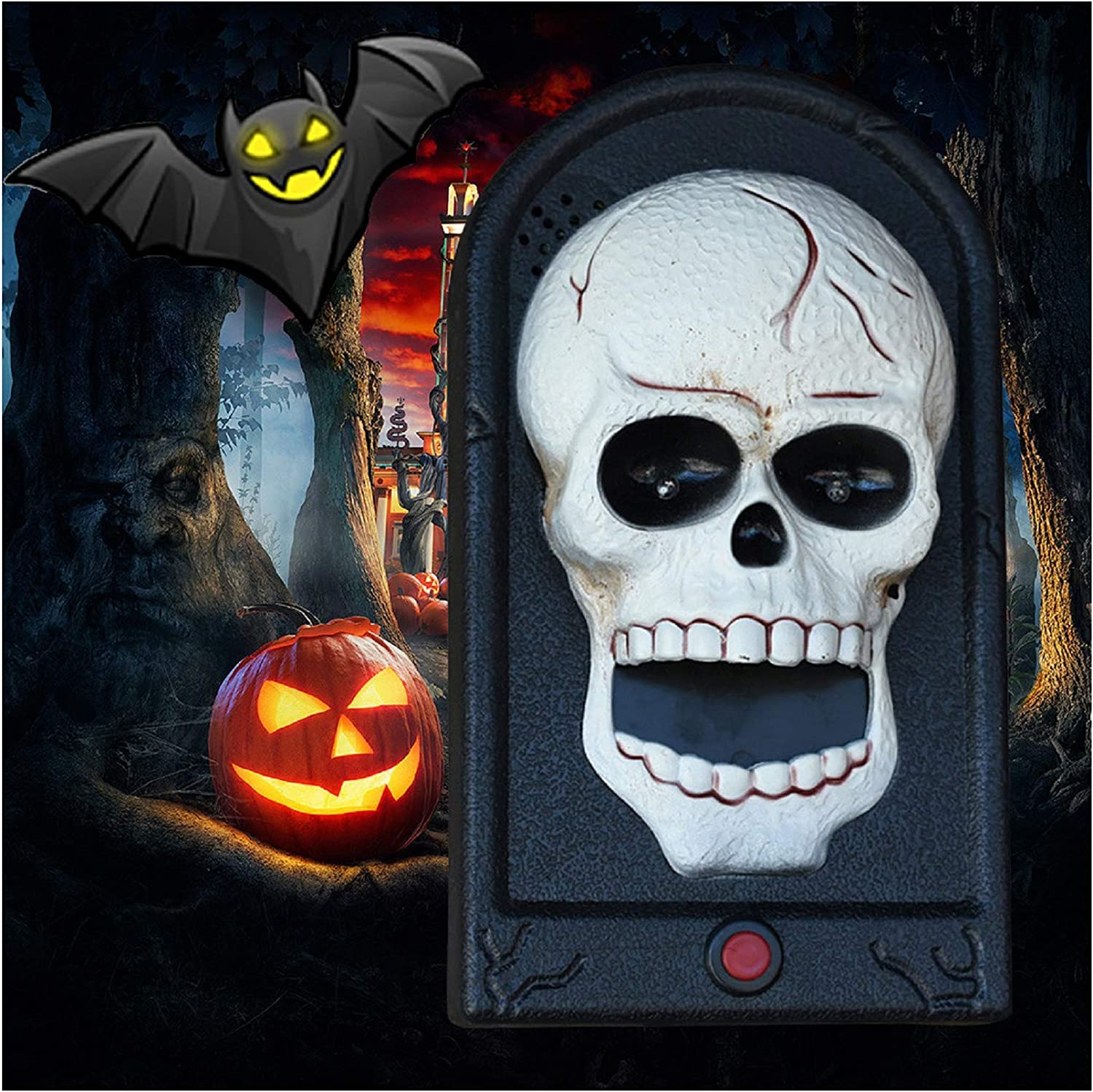 Witch Doorbell With Moving Tongue Halloween Fancy Dress Party Decoration Prop
