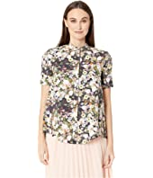 Adam Lippes - Printed Poplin Short Sleeve Trapeze Shirt w/ Stand Collar