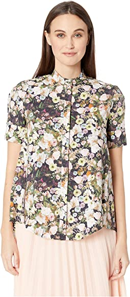 Printed Poplin Short Sleeve Trapeze Shirt w/ Stand Collar