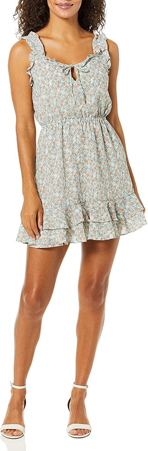 cupcakes and cashmere Women's Ferrara Printed CDC Ruffle Dress with Tie Neck
