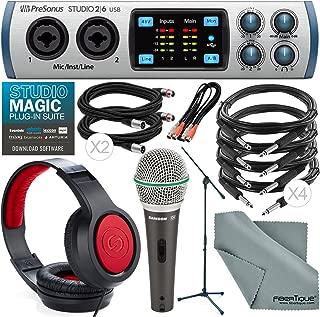 PreSonus Studio 26 2in4out 192 kHz, USB 2.0 Audio/MIDI Interface and Deluxe Accessory Bundle w/Samson Q6 Mic & SR360 Headophones + Xpix Pro Cables + Mic Stand