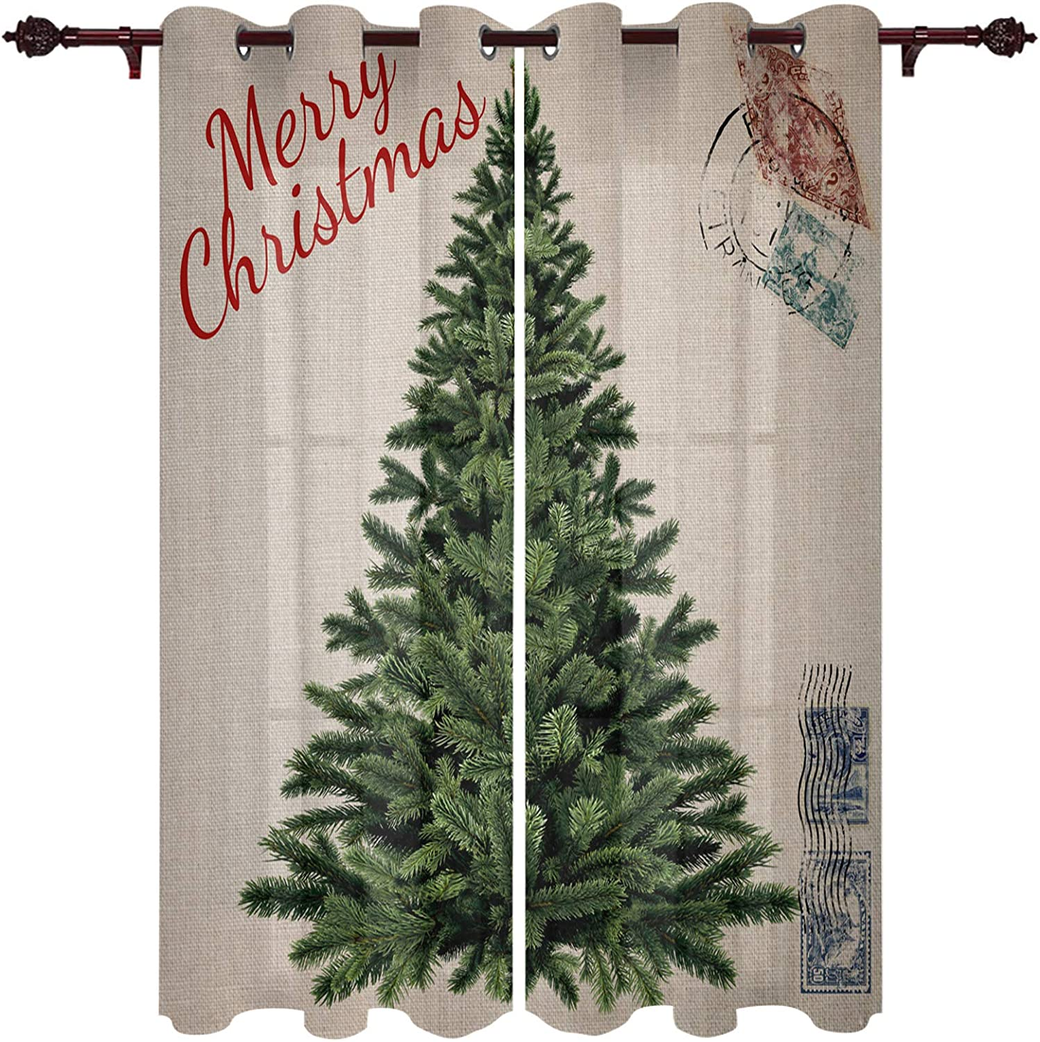 Olivefox Window Curtains Merry Christmas Vintage Tree on Xmas safety Cheap bargain St