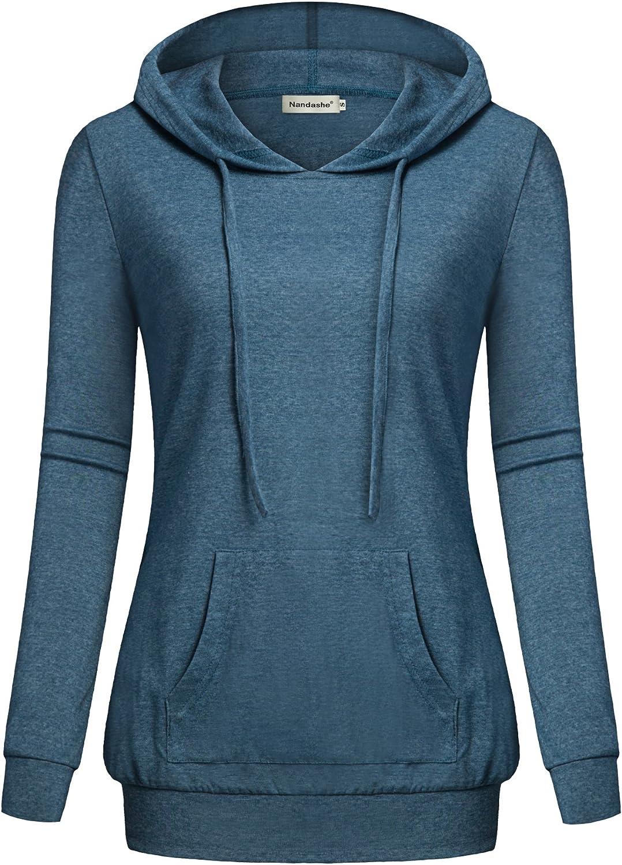 Nandashe Women's Long Sleeve Crew Neck Hoodies Sweatshirts with Kangaroo Pocket