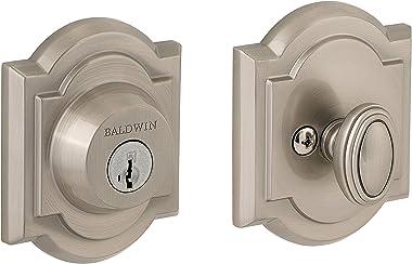 Baldwin Prestige 380 Arched Single Cylinder Deadbolt Featuring SmartKey in Satin Nickel