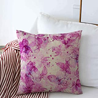 Pillow Case Lilac Flower Delicate Blooming Lilacs Mixed Drips Spray Paint Watercolor Souvenirs Design Season Farmhouse Decorative Throw Pillows Covers 16