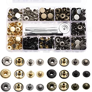 120 Sets Leather Snap Fasteners Kit, LYNDA 6 Colors Metal Button Snaps Press Studs with 4 Installation Tools,Used in Leath...