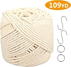 Cuerda de macramé ONME de 4 mm x 100 m (109 yardas), cuerda de algodón virgen natural de color natural macramé para colgar en la pared, cuerda para colgar macramé, columpio, silla bohemia, atrapasueños, cuerda de tejer para manualidades.