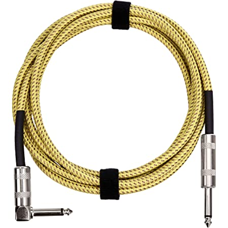 Amazon Basics 1/4 Inch Tweed Cloth Jacket Right-Angle Instrument Cable - 10 Foot (Yellow & Brown)