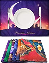 """6 Pieces Colorful Kitchen Placemats Linen Table Mats Moon Star Placemats for Muslin Dining BBQ Camping Wedding, 16.5"""" 12.6"""""""
