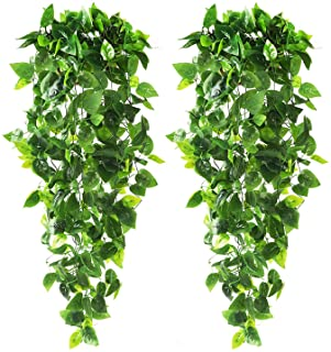 CEWOR 2pcs Artificial Hanging Plants 3.6ft Fake Ivy Vine Fake Ivy Leaves for Wall Home Room Garden Wedding Garland Outside...