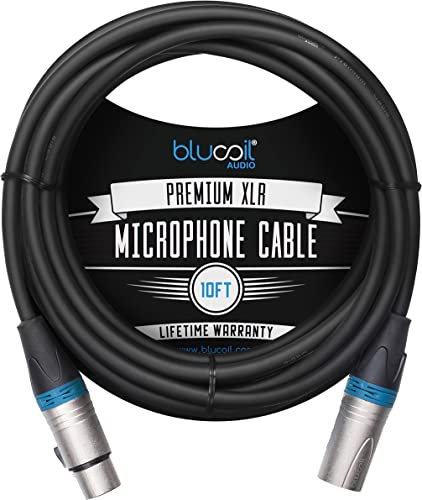 high quality Blucoil Audio 10-FT Balanced XLR Cable online with 24 AWG Copper Wire and PVC Jacket - 3-Pin Male to Female Microphone Cord for Audio Interfaces, Mixers, Preamps, and outlet sale Recorders online sale