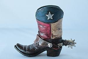 Mini Texas Flag Boot Toothpick Pen Holder Vase Tiny Cowboy Boot Decoration