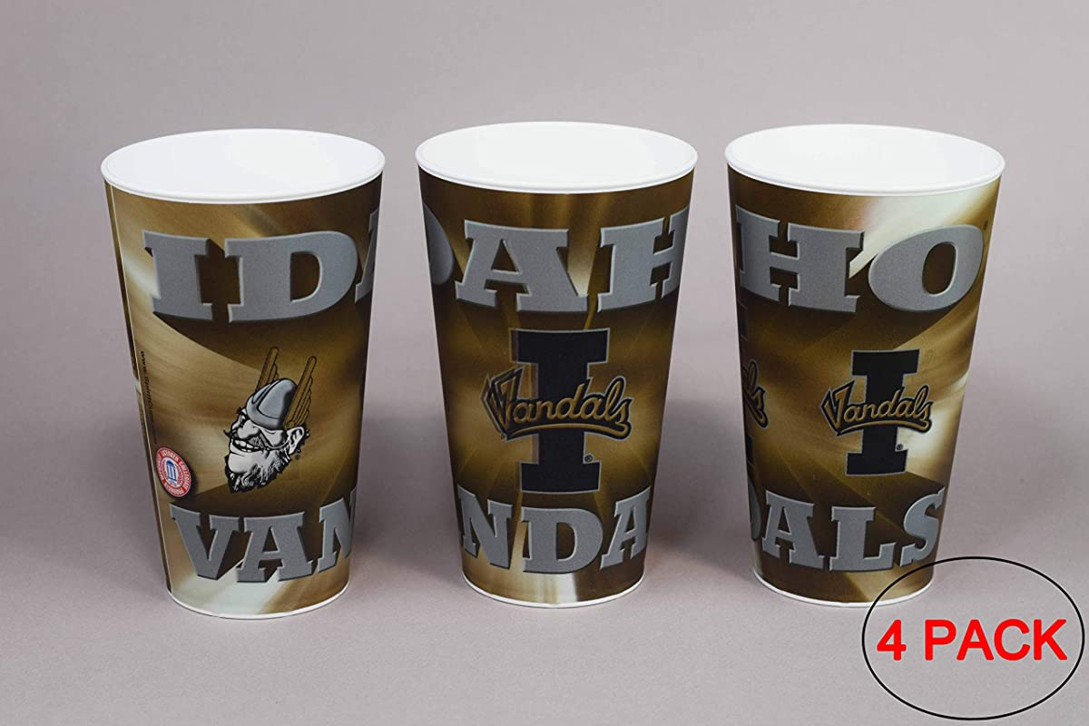 University Of Idaho Vandals Plastic Cup Holographic 22oz Pack Of 4 Tailgating Tumbler Cups Dishwasher Safe BPA Free