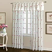 United Curtain Loretta Embroidered Sheer Window Curtain Panel, 52 by 63-Inch, White/Violet