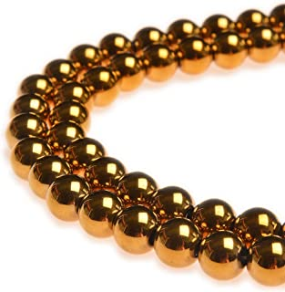 PLTbeads 10mm Hematite Gold Plated Gemstone Round loose Beads Approxi 15.5 inch 38pcs 1 Strand per Bag for Jewelry Making Findings Accessories