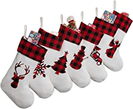MOSTOP Set of 6 Christmas Stockings 18 inch Large Xmas Stockings Silhouette Buffalo Red Plaid-Rustic-Farmhouse-Country Fir...