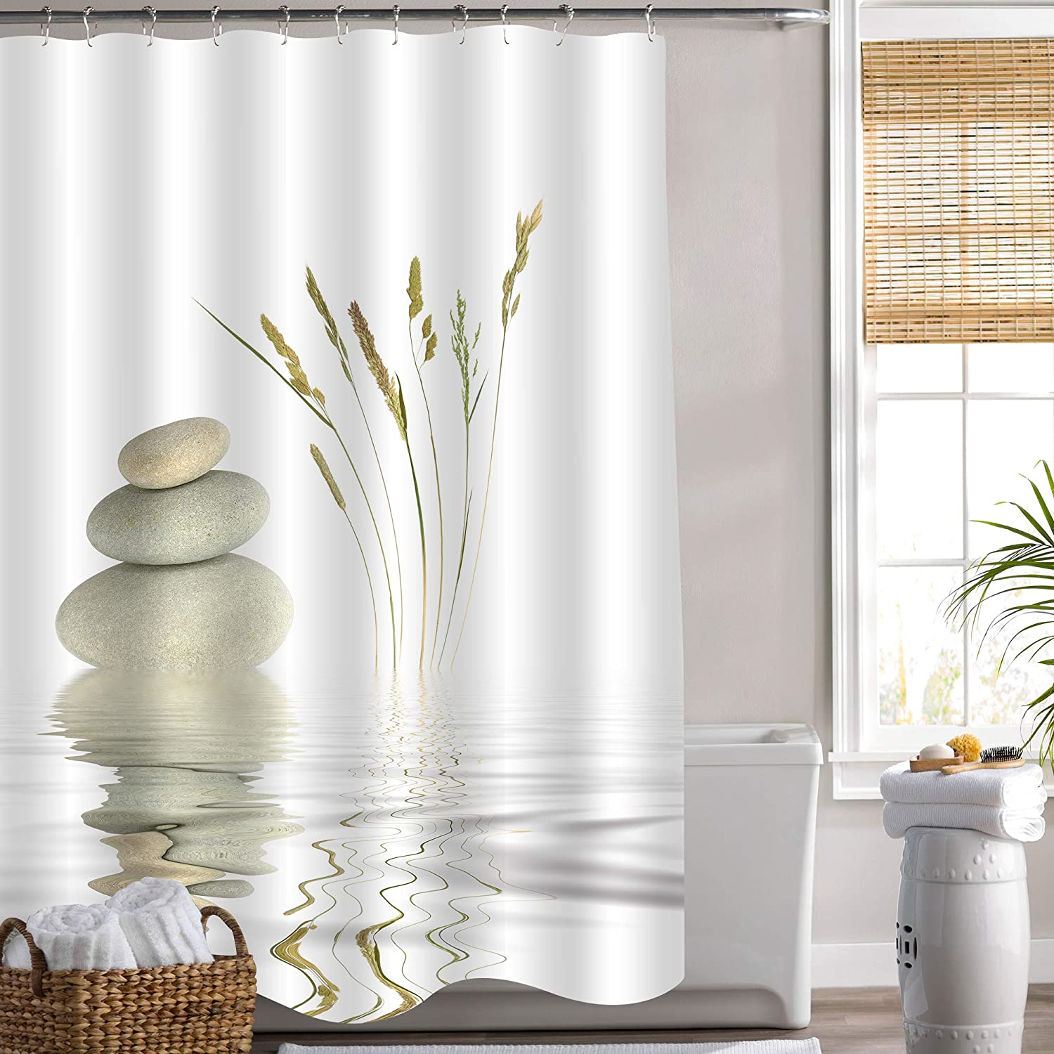 MitoVilla Zen Pebble Stone Shower Curtain for Asian Spa Bathroom Decor, Natural Grey Pebble Stones Balance with Wild Grass Over The Pond Rippled Water Bathroom Accessories, Gifts for Women, 72