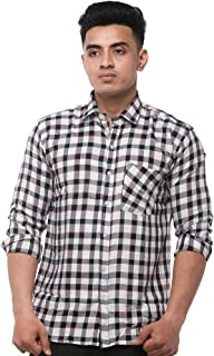 JPF Smart Men's Cotton Regular Fit Formal Shirt for Men - Casual Full Sleeves Shirt for Men/Cotton Checkered Short Sleeve Shirts for Men Red & Blue Checked Shirts