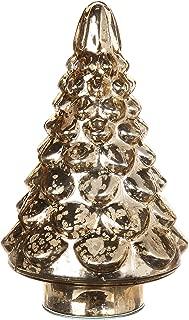 RAZ Imports Goldtone Mercury Glass Look 4 x 7 Inch Glass Christmas Tree Figurine