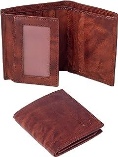 Linda Chiarelli portafoglio uomo vera pelle made in Italy blocco RFID Piccolo portafogli verticale con patella porta tesse...