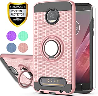 Moto Z2 Play Phone Case with HD Screen Protector,Ymhxcy 360 Degree Rotating Ring & Bracket Dual Layer Resistant Back Cover for Motorola Moto Z Play (2nd Gen.)-ZH Rose Gold