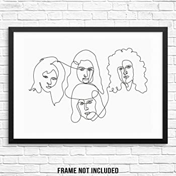 Amazon Com Sincerely Not Abstract Line Drawing Queen Classic Rock Band Art Print Music Wall Poster 11 X14 Unframed Minimalist Modern Artwork For Living Room Bedroom Home Office Posters Prints