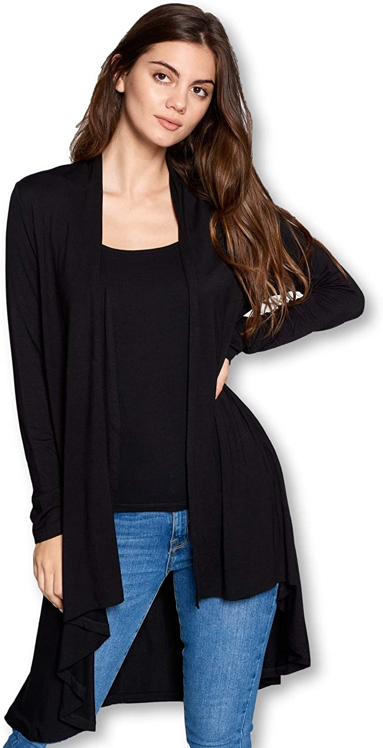 Women Long Duster Maxi Softest Open Front Casual Flowy Bamboo Cardigan - Made in USA