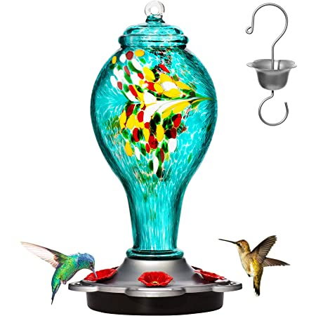 Red As a Vase More Biger Hand Blown Glass Hummingbird Feeder Never Fade Garden Decorative 40 Fluid Ounces LUJII Hummingbird Feeder with Ant Guard Function 5 Feeding Metal Stations