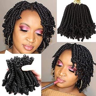 8 Packs Short Spring Twist Crochet Hair 6Inch Pretwisted Passion Twist Crochet Hair Curly Pre Looped Crochet Braids Hair B...