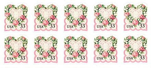 Love: Victorian Heart with Roses, Lily of The Valley and Lace, Block of 10x33¢ Postage Stamps (Scott 3274)