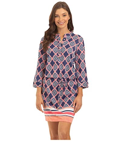 Cabana Life Geo Coverluxe Button Dress Cover-Up (Navy Multi) Women