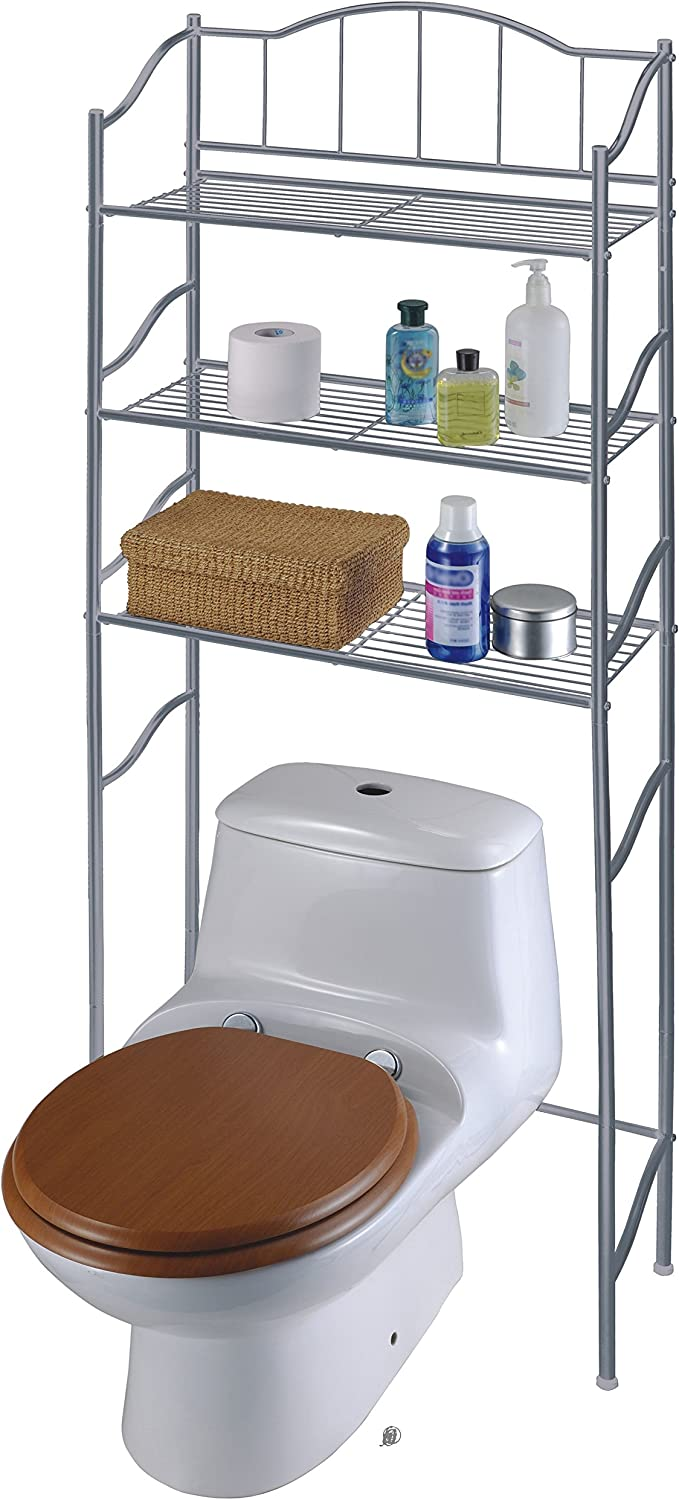 Silver Coated Steel Over the Toilet 3-Shelf Bathroom Storage Unit Space Saver