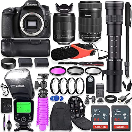 $1549 Get Canon EOS 80D DSLR Camera Kit with Canon 18-135mm & 55-250mm STM Lenses + 420-800mm Telephoto Zoom Lens + Battery Grip + TTL Flash (Upto 180 Ft) + Comica Microphone + 128GB Memory + Accessory Bundle