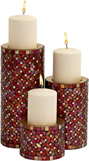 Deco 79 Metal Mosaic Candle Holder, 11 by 7 by 4-Inch, Burgundy Red, Set of 3